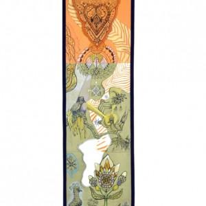 web, de onverwoestbare druppel, print op textiel, 195 x 50 cm, Klein