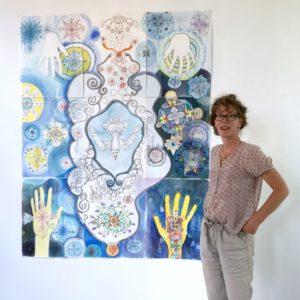 Inrichten van mijn expositie in galerie Posthuys, Texel